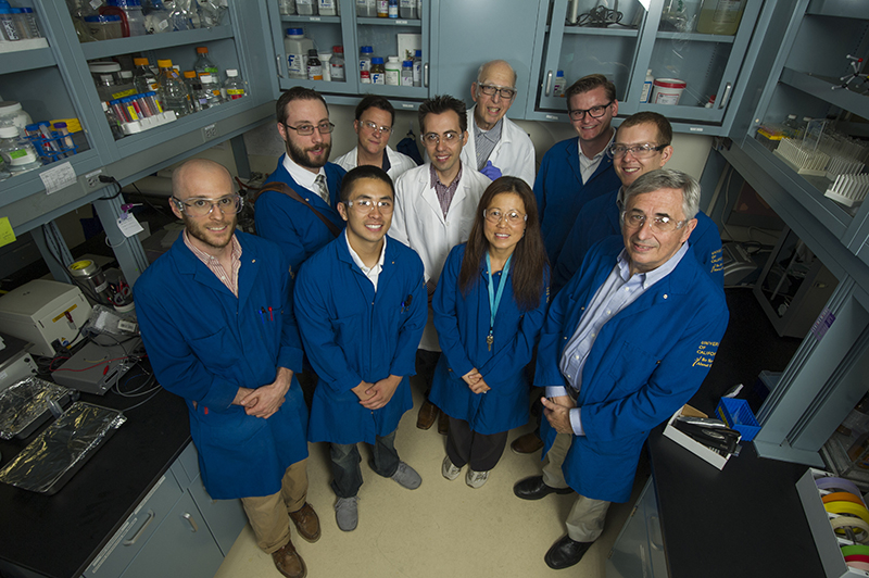 Partners from Baden Aniline and Soda Factory (BASF) Corp. are photographed with Professor Jeoh's research team in her lab in Bainer Hall. Jeoh is a professor in the Department of Biological and Agricultural Engineering.